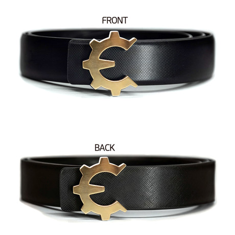 Brushed Gold Genii Belt // Black Classic (30)