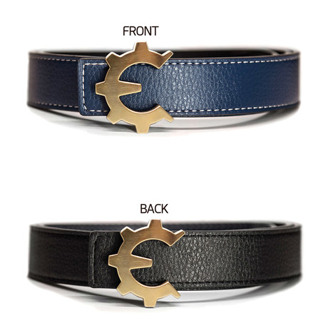 Brushed Gold Genii Belt // Blue (30)