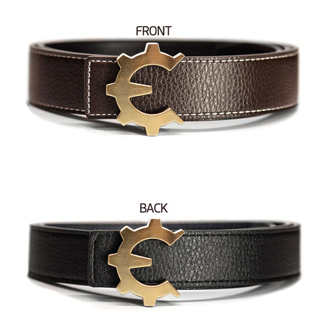 Brushed Gold Genii Belt // Brown (30)