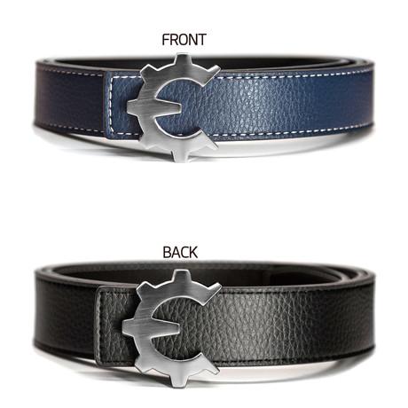 Brushed Silver Genii Belt // Blue