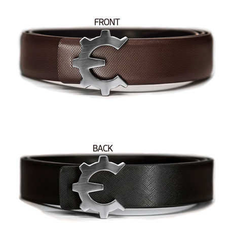 Brushed Silver Genii Belt // Brown Classic (30)