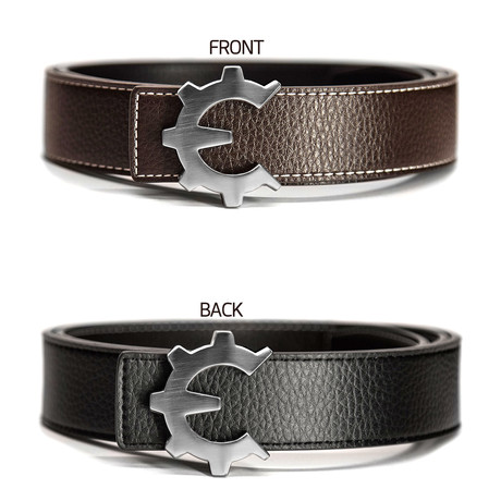 Brushed Silver Genii Belt // Brown (30)