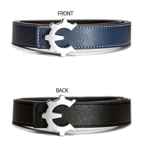 Polished Chrome Genii Belt // Blue (30)