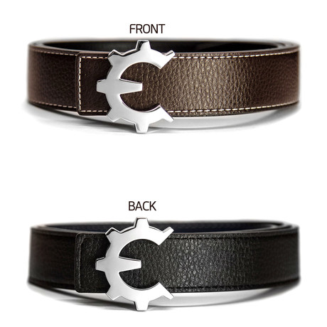 Polished Chrome Genii Belt // Brown (30)