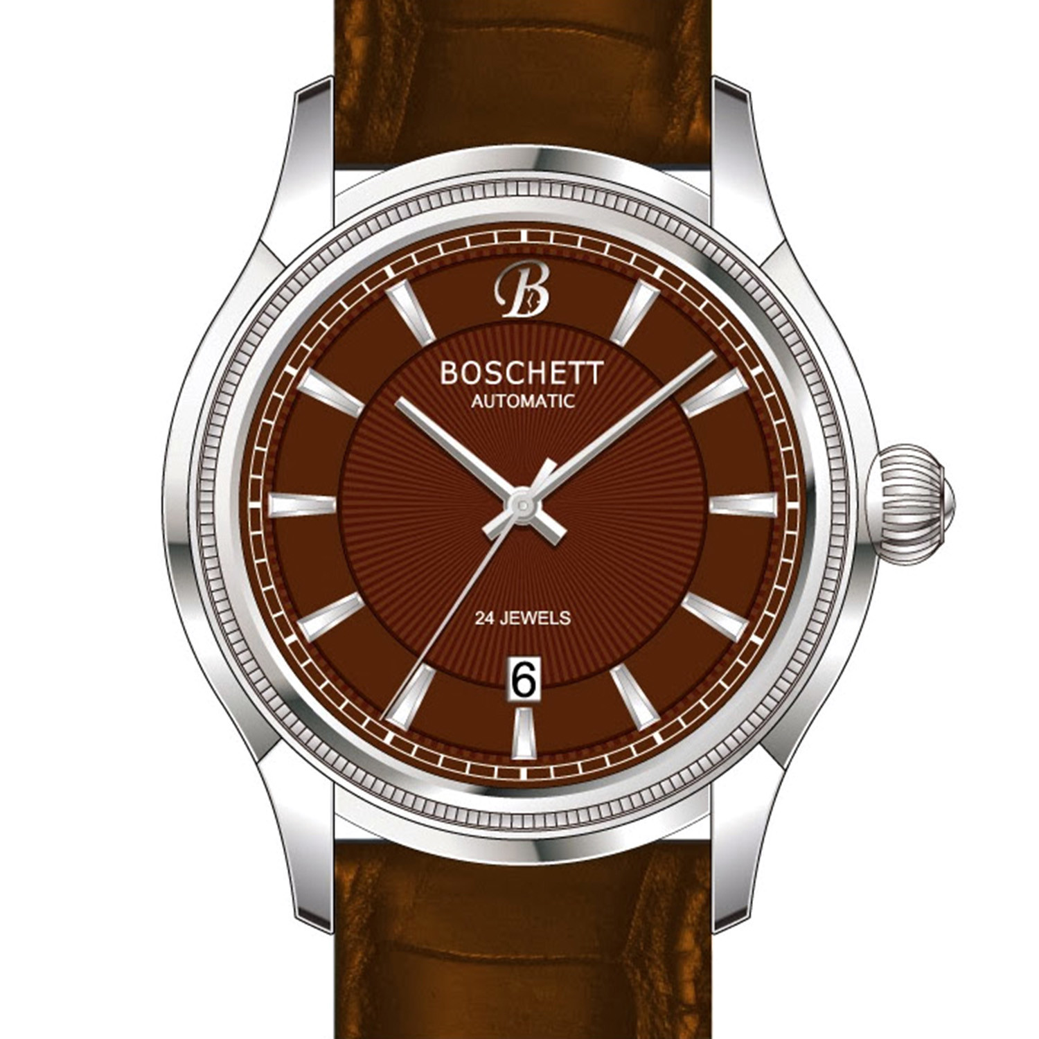 Boschett timepieces legacy automatic brown stainless