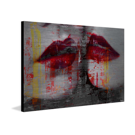 "Almost Kiss // Brushed Aluminum (18""W x 12""H x 1.5""D)"