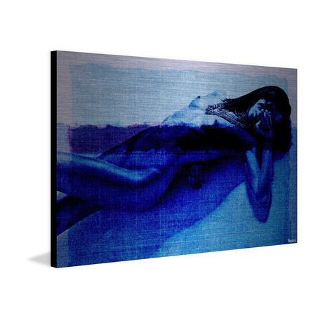"Blue Mystery // Brushed Aluminum (18""W x 12""H x 1.5""D)"