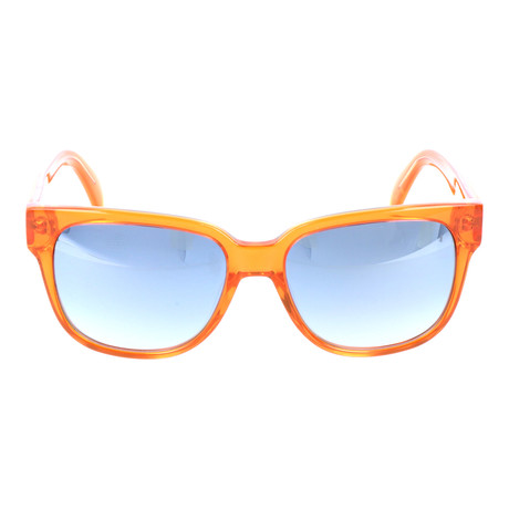 Rounded Square Clear Wayfarer // Orange + Mirror