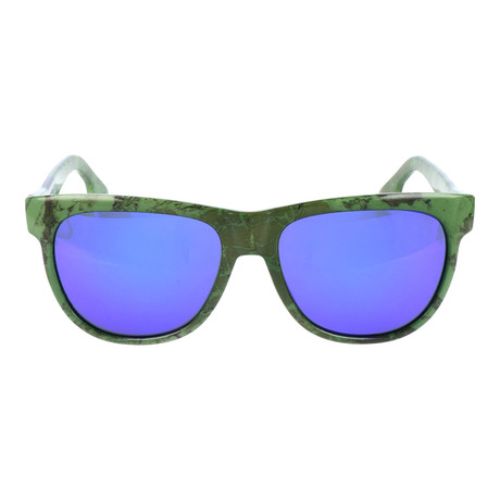 Marble Print Square Wayfarer // Green + Black + Blue Mirror
