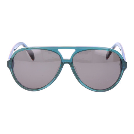Thick Clear Rim Aviator // Teal