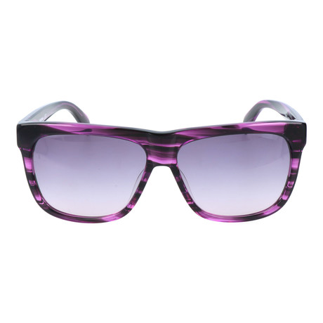 Thick Rim Clear Streak Square Wayfarer // Purple + Black