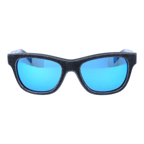 Fabric Texture Rounded Trapezoid Wayfarer // Black + Blue Mirror