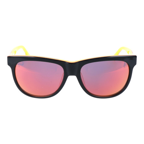 Two-Tone Rounded Square Wayfarer // Black + Orange + Orange Mirror