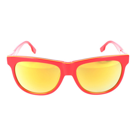 Rounded Square Wayfarer // Red + Yellow Mirror