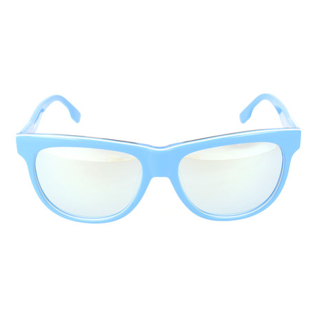 Rounded Square Wayfarer // Sky Blue + Mirror