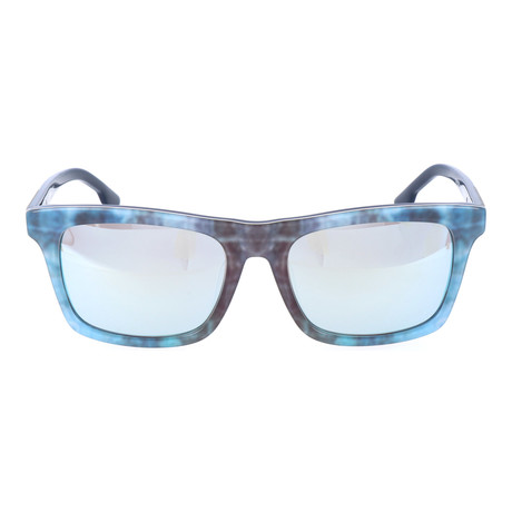 Watercolor Blocked Wayfarer // Blue + Brown + Wood Grain