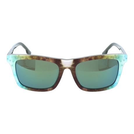 Watercolor Blocked Wayfarer // Brown + Green + Wood Grain