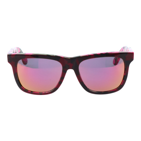 Spotted Frame Wayfarer // Dark Pink Camo + Orange Mirror