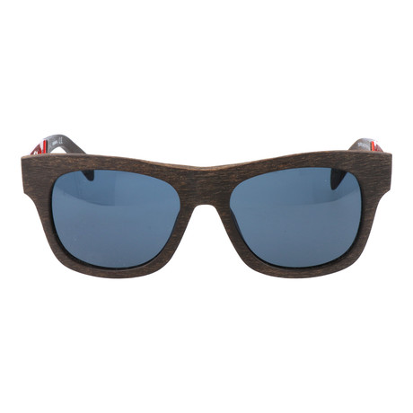 Wood Texture Square Wayfarer // Brown + Red