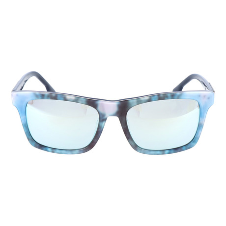 Watercolor Blocked Wayfarer // Blue Multi + Wood Grain