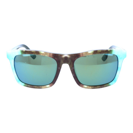 Watercolor Blocked Wayfarer // Aqua + Brown + Wood Grain