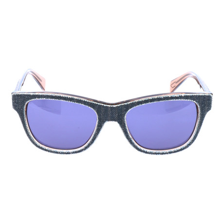 Fabric Texture Square Wayfarer // Indigo + Clear Brown