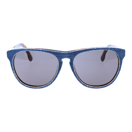 Fabric Texture Rounded Wayfarer // Denim Tortoise