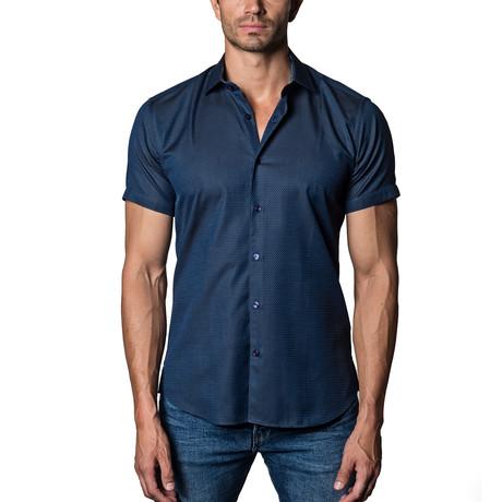 Short Sleeve Woven Button-Up // Navy