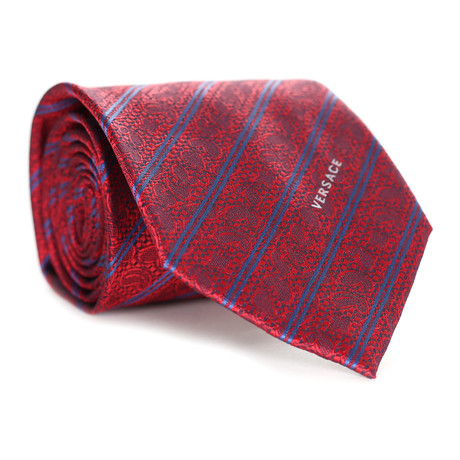 Floral Stripe Tie // Red + Blue
