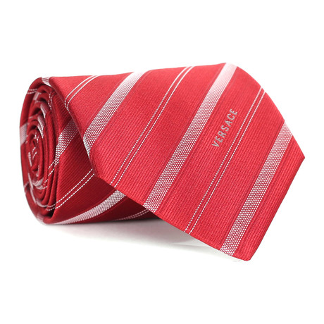 Dashed Stripes Tie // Red + White