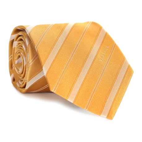 Dashed Stripes Tie // Yellow + White