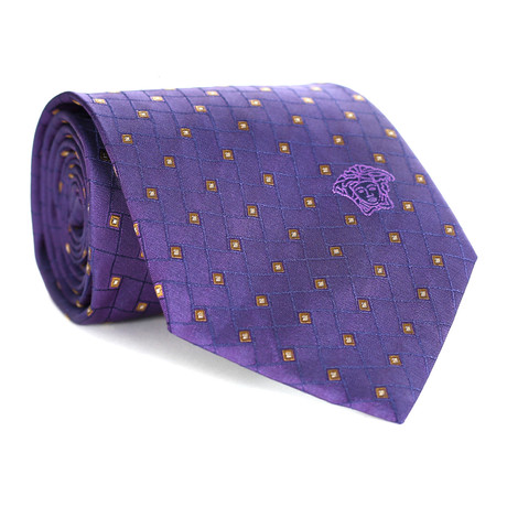 Mini Geo Squares Tie // Purple + Yellow