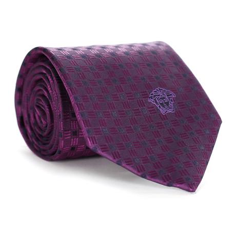Basket Square Tile Tie // Purple + Violet