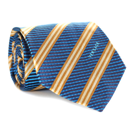 Intersecting Stripes Tie // Teal + Yellow