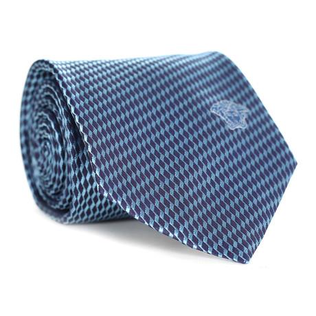 Geo Squiggle Tie // Navy + Light Blue