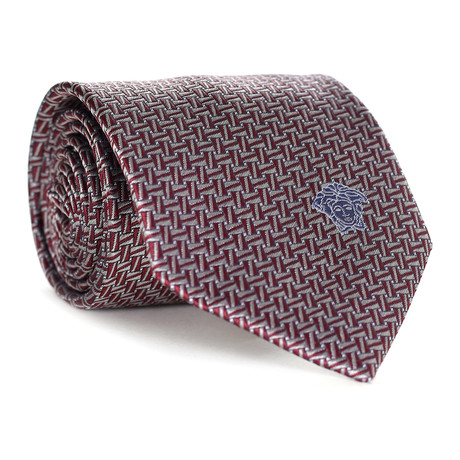 Dizzy Rectangles Tie // Burgundy + White