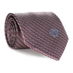 Dizzy Rectangles Tie // Burgundy + White