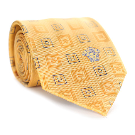 Concentric Squares Tie // Yellow + Blue