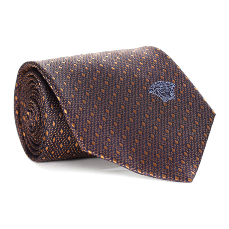 Small Diamonds Tie // Dark Brown + Gold