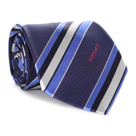 Textured Stripe Tie // Navy + Blue