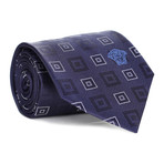 Concentric Squares Tie // Navy + White