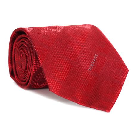 Dizzy Square Tile Tie // Red + Dark Red