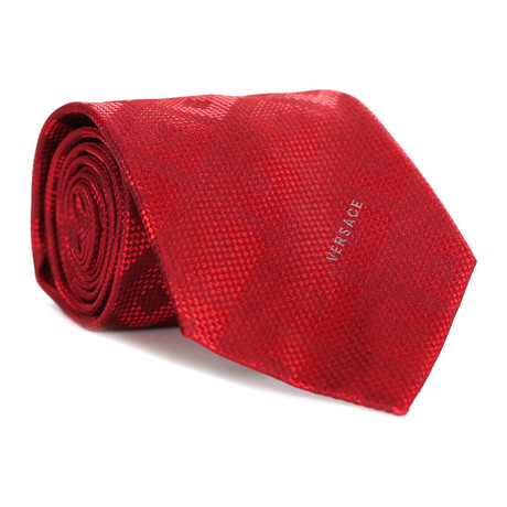 Dizzy Square Tile Tie // Red + Dark Red