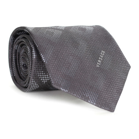 Dizzy Square Tile Tie // Charcoal + Grey
