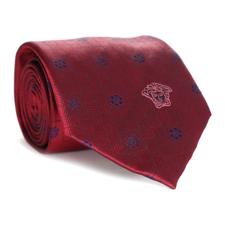 Floral Tile Tie // Red + Blue