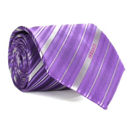 Multi Stripe Tie // Purple + Grey