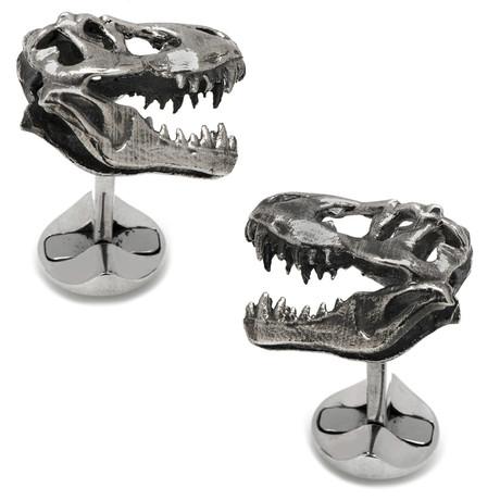 Sterling T-Rex Dinosaur Skull Cufflinks // Silver