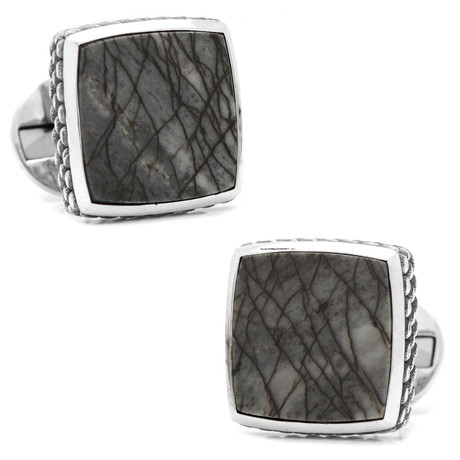 Sterling Classic Scaled Picasso Stone Cufflinks // Navy + Silver