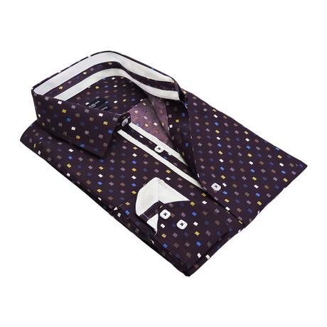 Retro Grid Button-Up Shirt // Purple