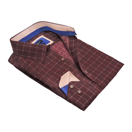 Hazed Windowpane Button-Up Shirt // Burgundy